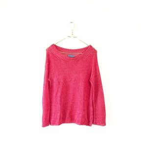 ALICE + OLIVIA shimmer red knit sweater sparkle M